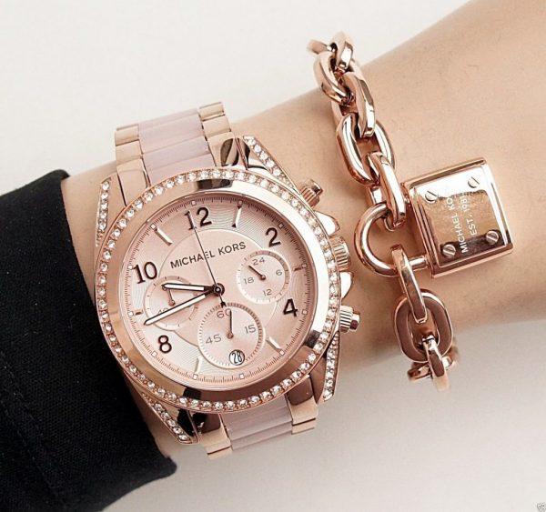 Michael Kors Women's Blair Chrono 100m Rose Gold Stainless Steel Watch MK5943