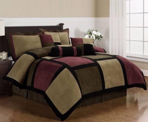 Buy Best Micro Suede Brown Burgundy Black Patchwork 7-Piece Comforter Set, Queen