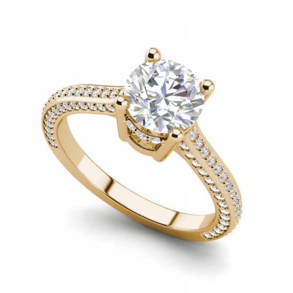 Micropave 2 Carat VS1/H Round Cut Diamond Engagement Ring Yellow Gold