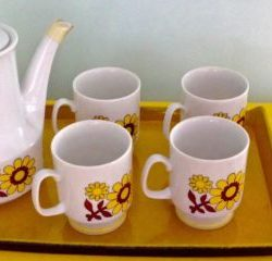 Mid Century Modern Demitasse Tea Coffee Set Art Deco 1960's Funky Floral  EUC