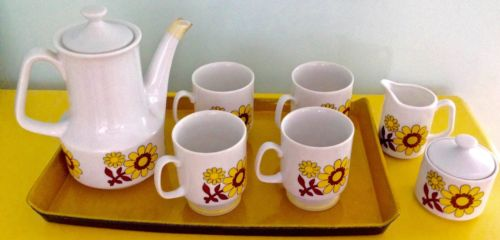 Buy Best Mid Century Modern Demitasse Tea Coffee Set Art Deco 1960's Funky Floral  EUC