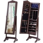 Mirrored Jewelry Cabinet Armoire Storage Organizer w/Drawer&Light Christmas Gift