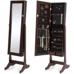 Mirrored Jewelry Cabinet Armoire W/ Stand Rings, Necklaces, Bracelets Brown