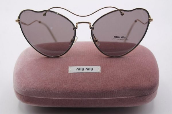 Miu Miu Sunglasses MU55RS 55RS 7OE6X1 Women Gold Frame/Dark Brown Lens BRAND NEW