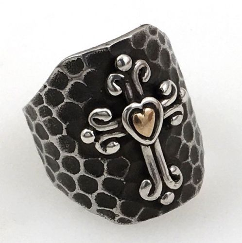 Modern Native American Cross Ring Hammered Sterling Silver size 7.5