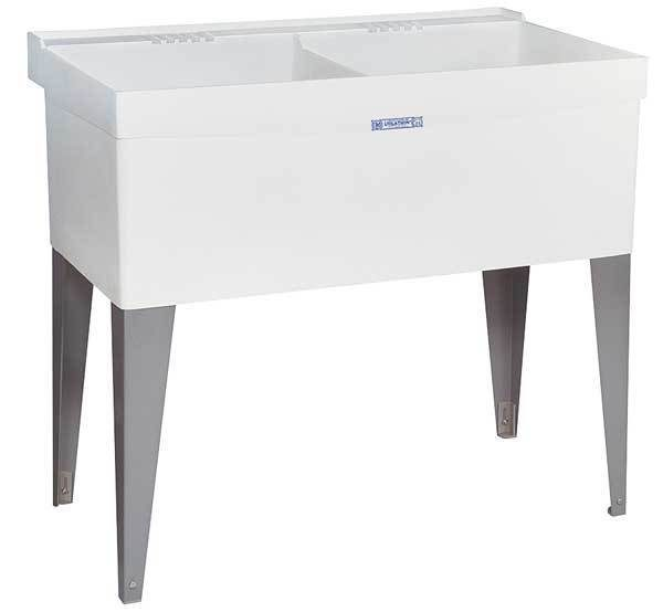 """Mustee Laundry Tub, White, Floor Mount Bowl Size 24"""" x 20"""", 27F"""