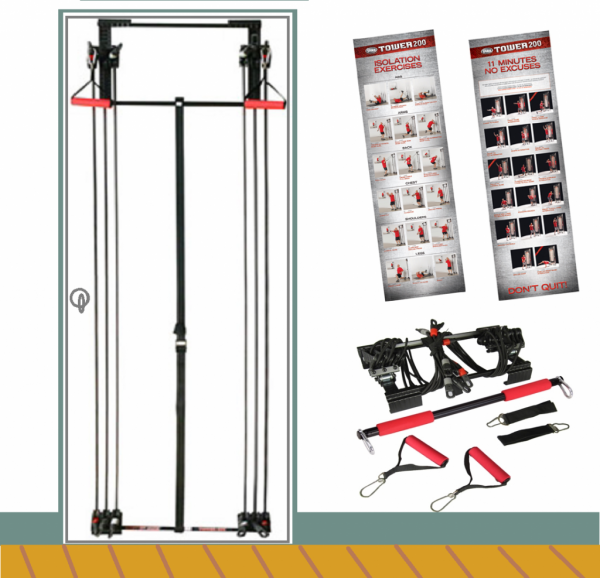 Buy Best NEW Body By Jake Tower 200 Full Gym Fitness + Workout DVD + Free Straight Bar