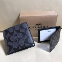NEW Coach Signature Compact ID PVC Men Wallet Charcoal/Black F74993