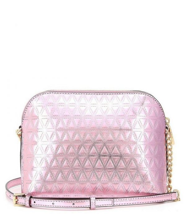 NEW MICHAEL KORS DOME EMBOSSED LEATHER SOFT PINK GOLD CROSSBODY PURSE