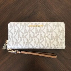 Buy Best NEW Michael Kors Vanilla PVC MK Signature Jet Set Zip Around Wallet Wristlet