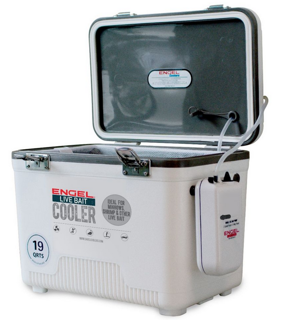 NEW STYLE ENGEL LIVE BAIT COOLER 19QT (AEREATED MINNOW BUCKET) (CRAPPIE POLE)