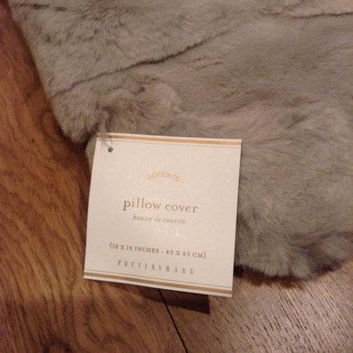 """Buy Best NEW Set Of 2 Pottery Barn Ruched Faux Fur 18"""" $49 Pillow Covers, GRAY"""