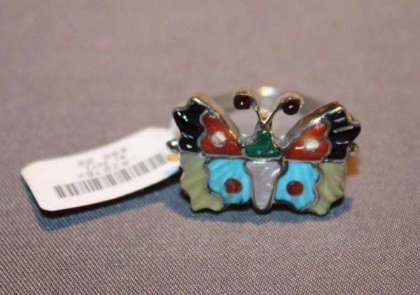 NEW Zuni Butterfly Inlay Ring signed J. Pinto