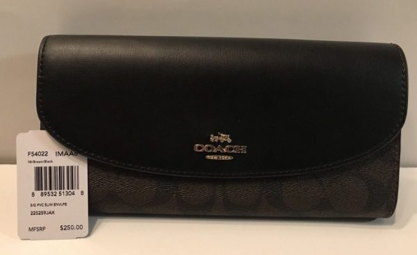 Buy Best NWT Authen Coach F54022  Women's Slim Envelope Wallet Brown Black PVC & Leather