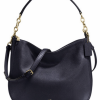 NWT COACH Pebble Leather Chelsea 32 Hobo Shoulder Bag Light Gold/Navy 58036