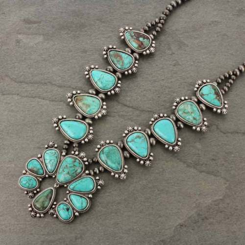 *NWT* Full Squash Blossom Natural Turquoise Necklace-7316570078