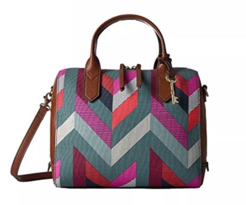 NWT Genuine Fossil Fiona Satchel Handbag Crossbody Purse Chevron MSRP $128