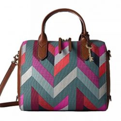 Buy Best NWT Genuine Fossil Fiona Satchel Handbag Crossbody Purse Chevron MSRP $128