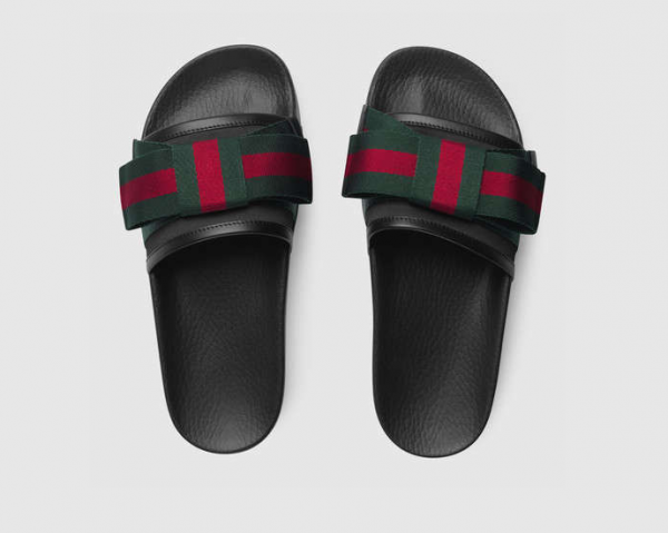 NWT Gucci Women's Satin Slide With Web Bow sandal GG Supreme Canvas Size US6-11