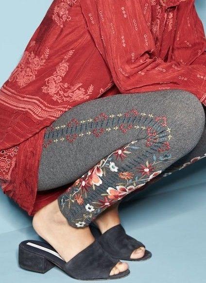 Buy Best NWT JOHNNY WAS EMBROIDERED LEGGINGS PANTS WALESKA CHARCOAL GREY SZ 1X