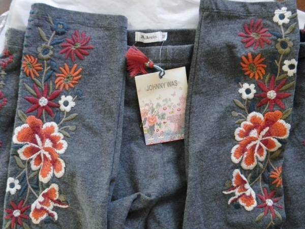 NWT JOHNNY WAS EMBROIDERED LEGGINGS PANTS WALESKA CHARCOAL GREY SZ 1X