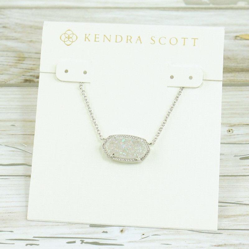 Buy Cheap Nwt Kendra Scott Elisa White Iridescent Drusy Pendant Necklace Silver Tone Best Buy