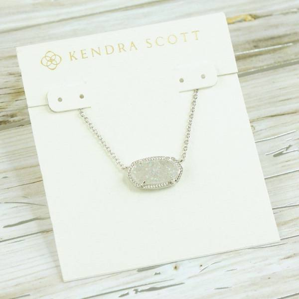 NWT Kendra Scott Elisa White Iridescent Drusy Pendant Necklace Silver Tone