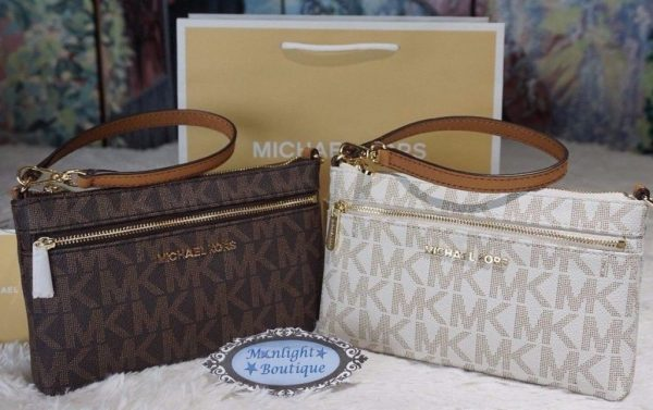 NWT MICHAEL KORS Jet Set LARGE Wristlet/Wallet PVC/Leather VANILLA or BROWN $118
