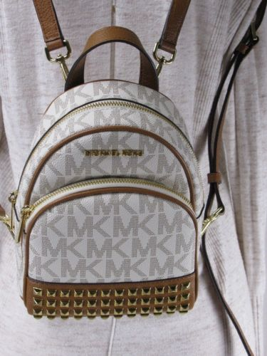 NWT MICHAEL KORS PVC ABBEY XS STUDDED BACKPACK BAG VANILLA/ACORN
