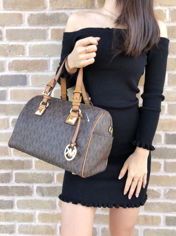 NWT Michael Kors Grayson Medium Chain Satchel Brown MK Signature Acorn Handbag