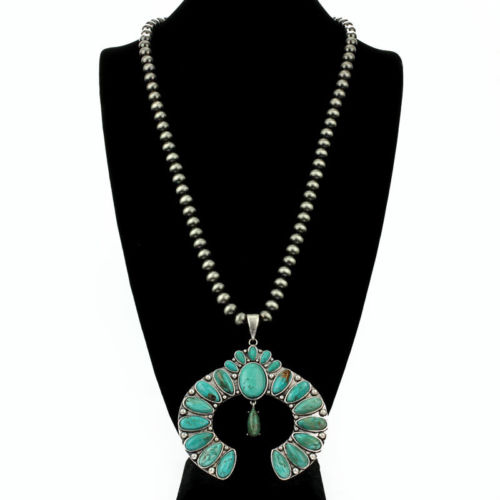 *NWT* Natural Turquoise Squash Pendant Western Pearl Necklace 7314340049