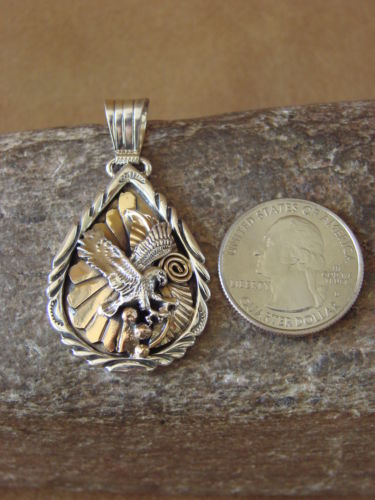 Native American Jewelry Handmade Sterling Silver Gold Fill Eagle Pendant!