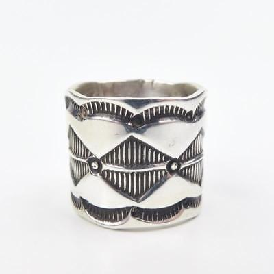 Native American Navajo Signed Chavez Stamped Sterling Silver Ring Size 7