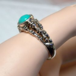 Natural Blue Turquoise oxidized antique 925 sterling silver ring size 7 USA