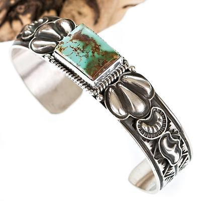 Navajo Turquoise Bracelet Cuff Sterling Silver .e Natural Gem ROYSTON