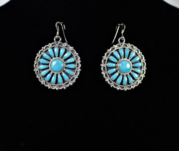 Navajo Turquoise Cluster Sterling Silver Earrings by Zeta Begay