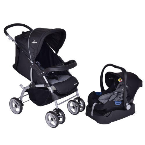 New 3 in 1 Foldable Steel Travel System Baby Stroller PRAM Child Car Safety Seat