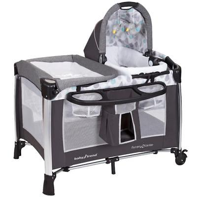 New Baby Trend Go-Lite Elx Nursery Center Playard- Drip Drop Blue Model:6C339493