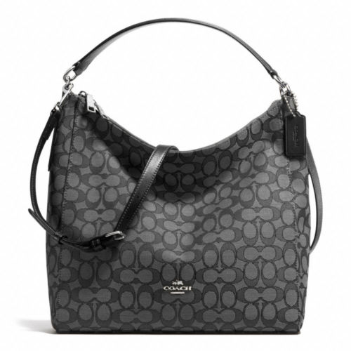 New Coach F58327 Outline Signature Celeste Hobo Crossbody Bag Black Smoke NWT