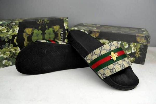 New Gucci Stripe GG Slipper Slide Sandals with Bee Women's Size US11 /EUR 42
