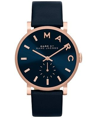 Buy Best New Marc by Marc Jacobs Baker Rose Gold Navy Leather Women's Watch MBM1329