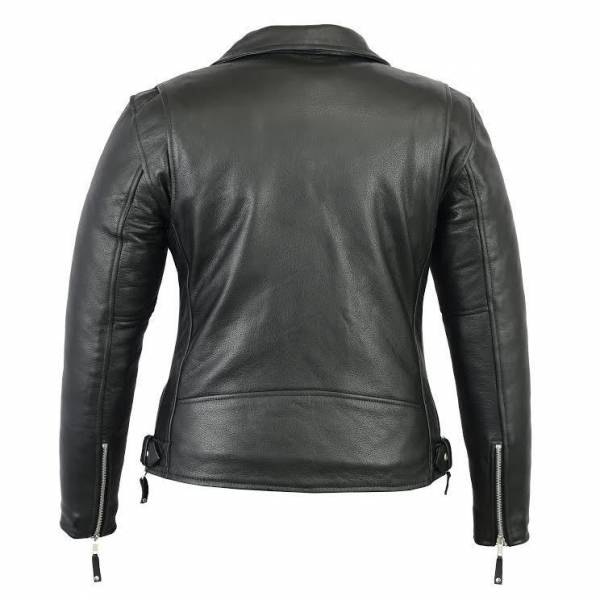 New Women's Black Biker Style Moto Genuine Soft Cowhide Leather Jacket XS-3XL