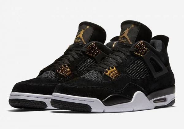Buy Best Nike Air Jordan 4 Retro Royalty IV Sz 4-12 Black Suede Metallic Gold 308497-032