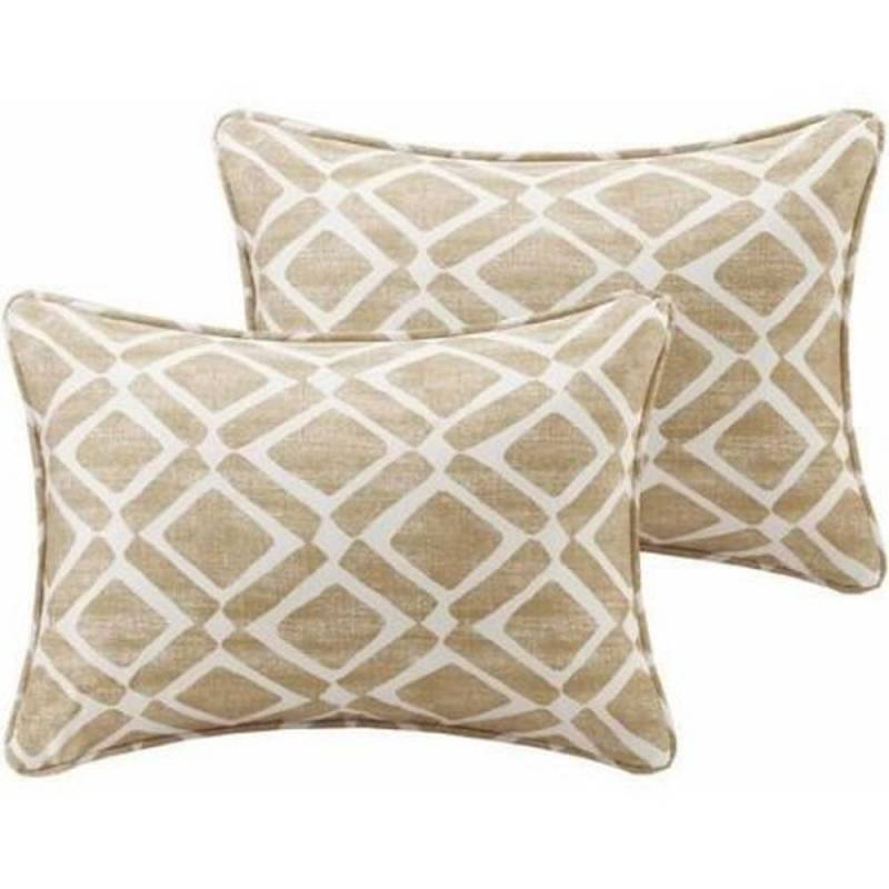 Throw Pillows For White Sofa : Oblong Throw Pillows Small Decorative Set of 2 Tan White Diamond Pattern Sofa KATHSTORE.com