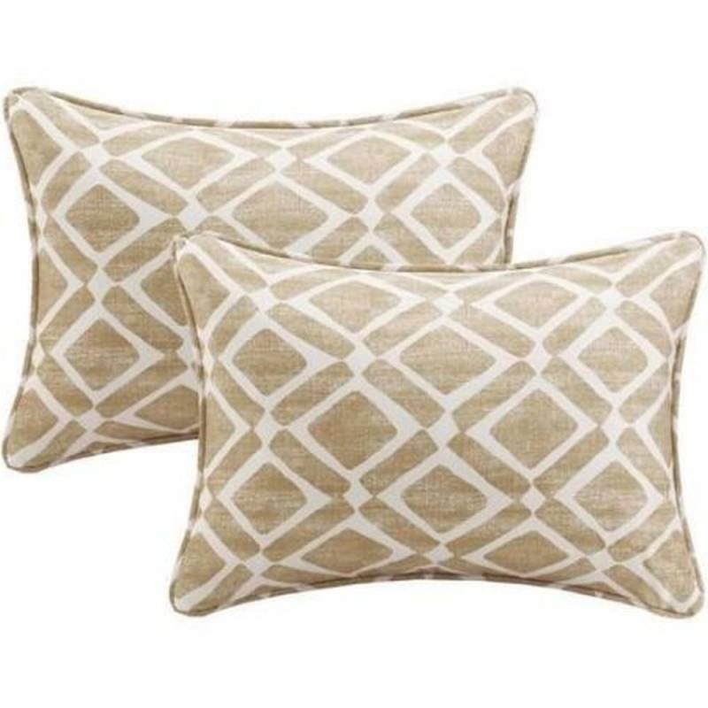Oblong Throw Pillows Small Decorative Set Of 2 Tan White