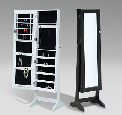 Organizer Storage Mirrored Jewelry Cabinet Box Rings Necklaces Case w/ Stand