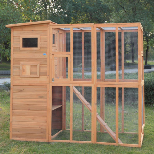 Buy Best Outdoor Cat Pet House Run Enclosure Wooden Fun Small Animal Shelter Tunnel