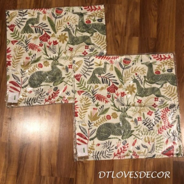 "POTTERY BARN~Set of 2~Llew Deer PILLOW COVER 22"" Christmas~Reindeer-Floral~NWT"