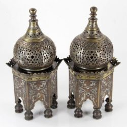 Buy Best Pair Middle Eastern Islamic Silver Damascene Inlaid Incense Burners with Covers