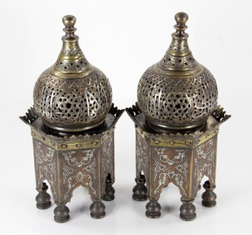 Pair Middle Eastern Islamic Silver Damascene Inlaid Incense Burners with Covers